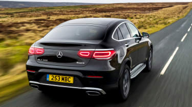 Mercedes GLC Coupe SUV rear 3/4 tracking
