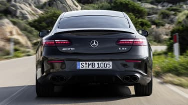 Mercedes-AMG E 53 Coupe driving - rear view