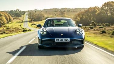Porsche 911 coupe front driving