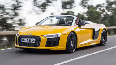 The Audi R8 has a fabric roof that can be put up or down in 20 seconds at speeds of up to 31mph.