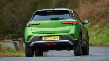 Vauxhall Mokka-e driving - rear view