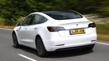 Tesla Model 3 Long Range saloon rear 3/4 tracking
