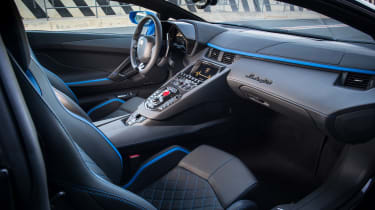 Inside the Aventador, you recline on an extremely supportive seat