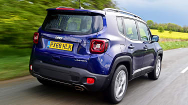 Jeep Renegade driving away from camera