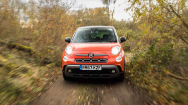 Fiat 500L driving off-road - front view