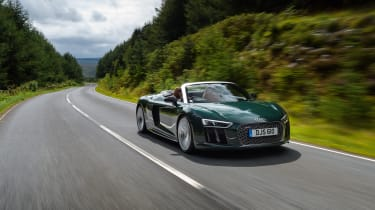 The Audi R8 uses a naturally aspirated 5.2-litre V10 engine that produces 533bhp or 602bhp in the R8 Plus.