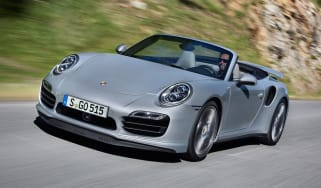 Porsche 911 Turbo Cabriolet front quarter tracking