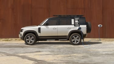 2020 Land Rover Defender 110 P400e plug-in hybrid - side view charging