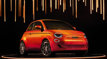 2020 Fiat 500 electric Bvlgari - front 3/4 view