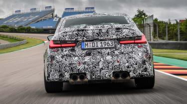 2020 BMW M3 saloon prototype - rear low down view
