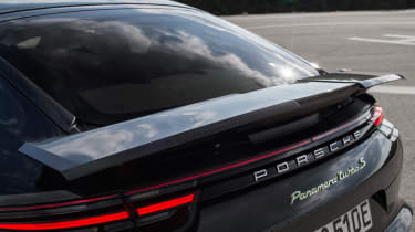 The Panamera Turbo S E-Hybird gets the clever fold-out spoiler from the standard Turbo