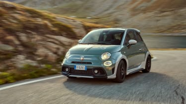 Abarth 695 70th Anniversario - front 3/4 dynamic view