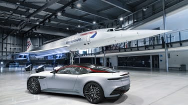 Aston Martin DBS Superleggera Concorde Edition with Concorde plane - rear view