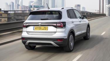 Silver VW T-Cross driving - rear view