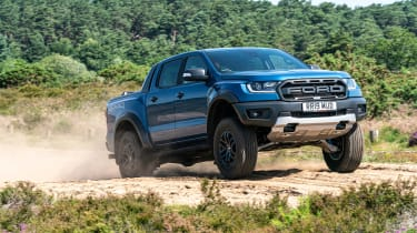 Ford Ranger Raptor pickup front 3/4 off-road