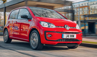 Red Volkswagen up! driving