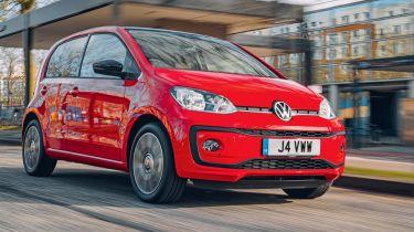 Red Volkswagen up! driving