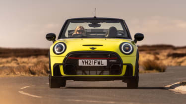 2021 MINI Convertible driving with roof down - front end