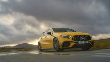 Mercedes-AMG A 45 S hatchback - front 3/4 dynamic passing view