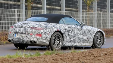 2021 Mercedes SL in camouflage - side/rear view
