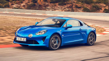 Alpine A110 coupe cornering on track