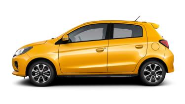 2020 Mitsubishi Mirage - Side profile in Sand Yellow