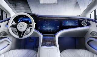 2021 Mercedes EQS interior with optional Hyperscreen infotainment system