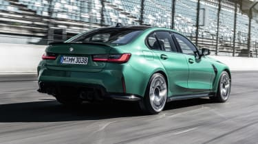 2021 BMW M3 Competition saloon - rear 3/4 view dynamic