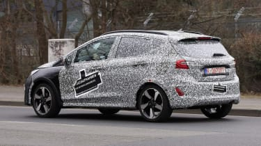 2021 Ford Fiesta prototype driving - side/rear view