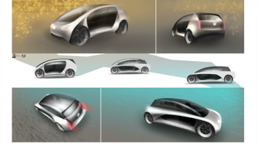 Eimear Hyland – Eimear's design adopted a 4D-printed frame that changed shape between city and motorway use to provide a shorter or longer wheelbase and improved aerodynamics.