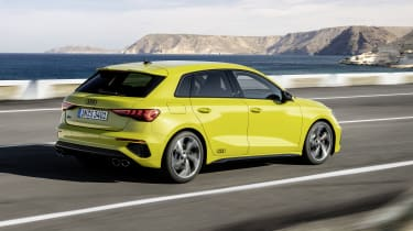 2020 Audi S3 Sportback driving - rear view