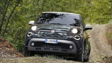 The 500L Cross has sturdy-looking skid plates under the bumpers,