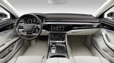 The interior really expresses the technology that abounds in the new A8