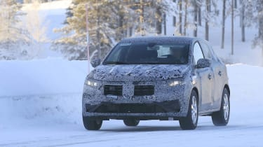 2021 Dacia Sandero winter testing - front dynamic