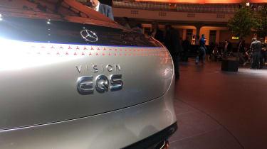 Mercedes EQS electric saloon concept - boot close up - Frankfurt