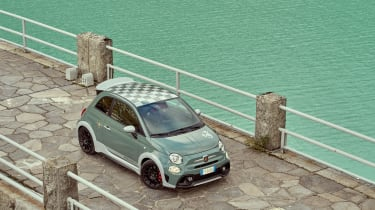 Abarth 695 70th Anniversario - front 3/4 elevated view