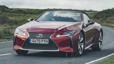 Lexus LC Convertible front 3/4 driving