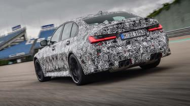 2020 BMW M3 saloon prototype - rear 3/4 view