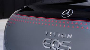 Mercedes EQS concept rear light bar and badge