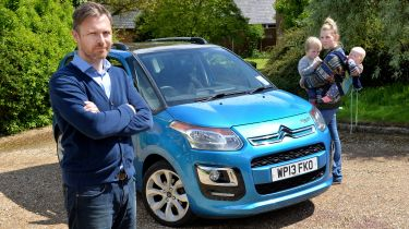 Watchdog... James Allan from Leicester, clutch problem with his Citroen (NBcar in pix is a loan car)his is still in Bristol awaiting parts. Wife Chara and children Elijah aged 3 and Teddy age