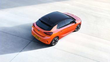 2020 Vauxhall Corsa-e - static 3/4 aerial view
