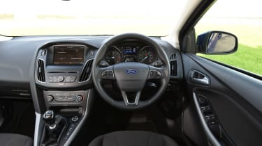 Inside, the Focus has a well-built interior with an uncluttered dashboard, comfortable seats and a good amount of insulation from road noise.