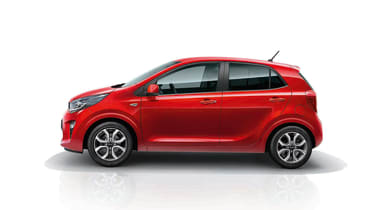 2020 Kia Picanto in red - side view
