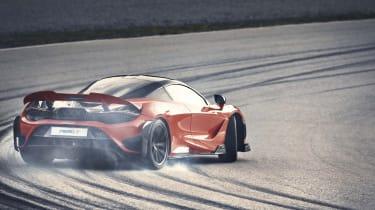 McLaren 765LT - rear 3/4 view drift on track