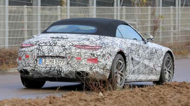 2021 Mercedes SL in camouflage - rear view
