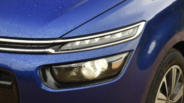 Citroen's chevron badge is flanked by a wide grille and LED daytime running lights