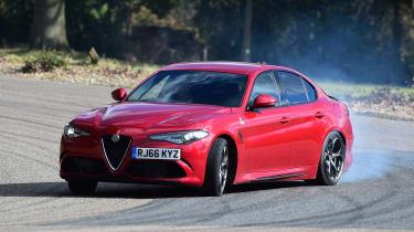 Alfa Romeo Giulia Quadrifoglio saloon drifting