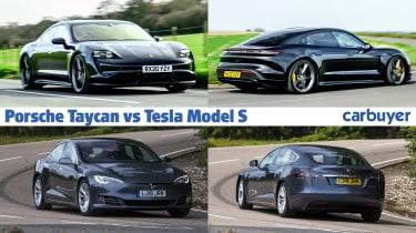 Porsche Taycan vs Tesla Model S - hero