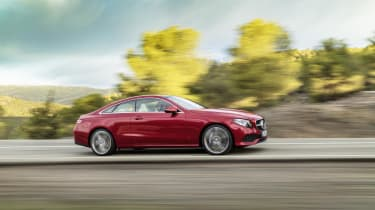 The Coupe's suspension is 15mm lower than the E-Class saloon's, so it should corner with more agility