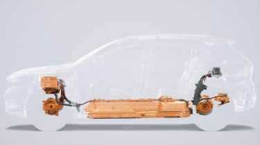 Electric Volvo XC40 powertrain diagram
